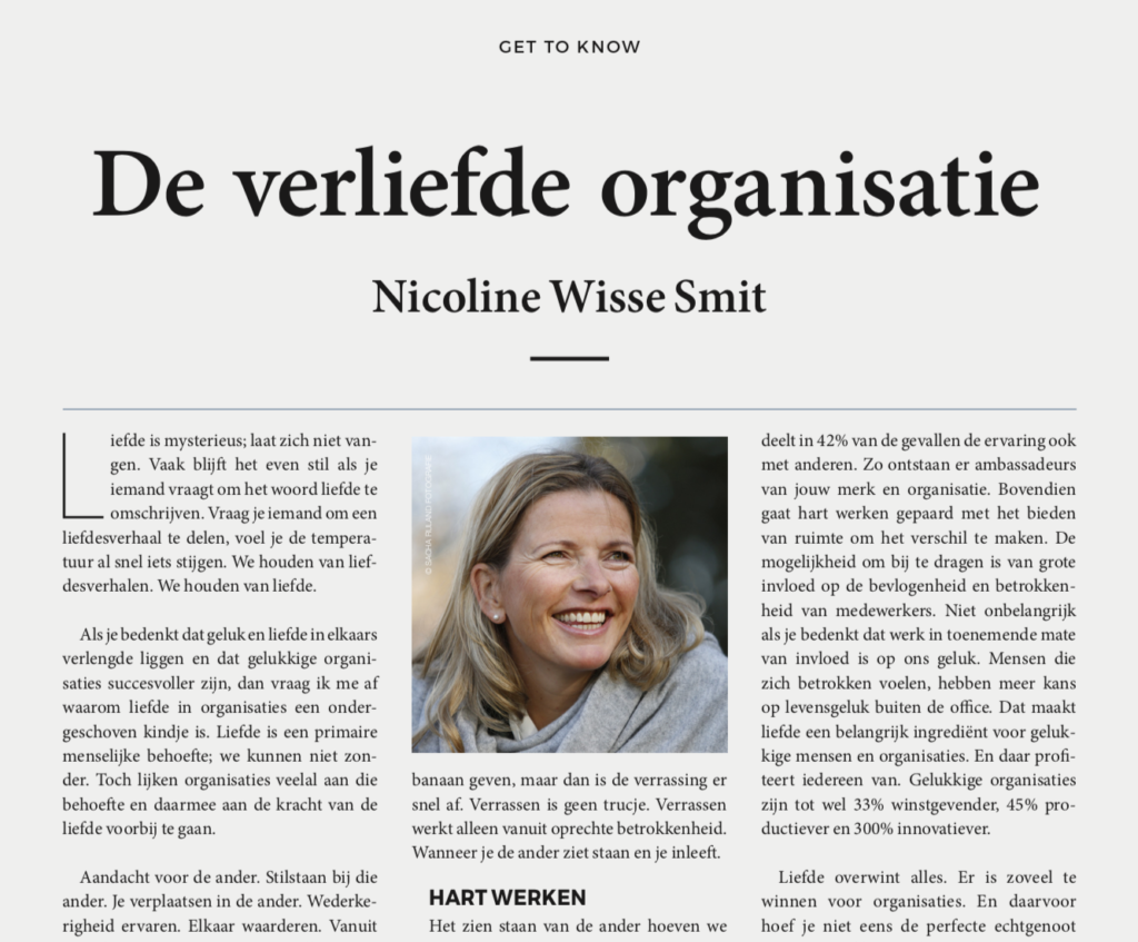 Artikel in Magazine Speakers Academy door Nicoline Wisse Smit over de verliefde organisatie.